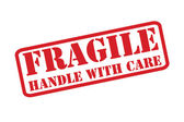 FRAGILE - HANDLE WITH CARE red rubber stamp vector over a white background