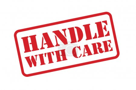 Illustration for HANDLE WITH CARE rubber stamp vector over a white background. - Royalty Free Image