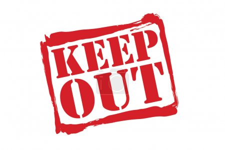 KEEP OUT red rubber stamp vector over a white background.