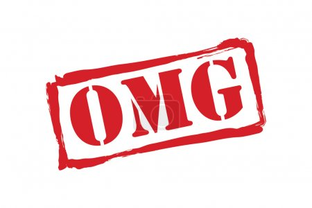 OMG red rubber stamp vector over a white backgroun...