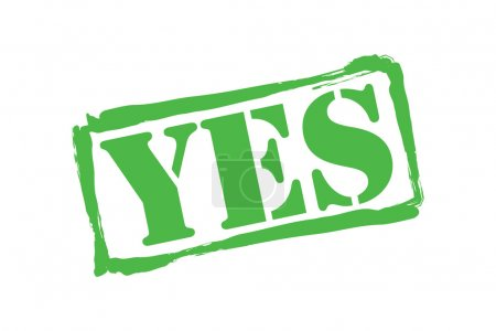 YES green rubber stamp vector over a white background.