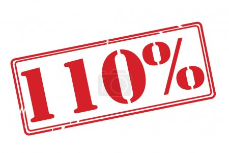110 percent red rubber stamp vector over a white background.