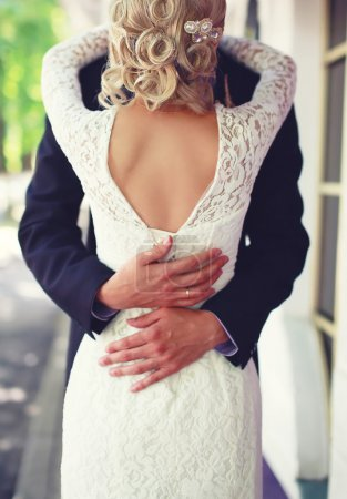 Photo for Wedding elegant couple hugging, view of back, lace bridal dress - Royalty Free Image