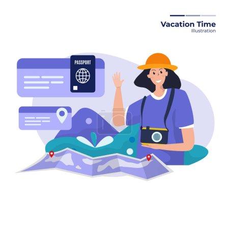 Illustration pour Une femme se prépare pour la journée de vacances - image libre de droit