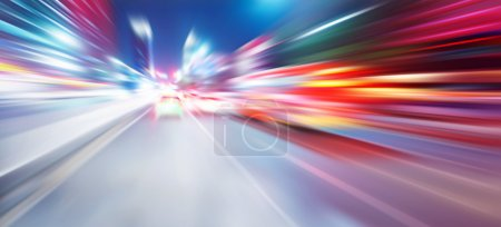 Photo for Acceleration speed motion on night road - Royalty Free Image