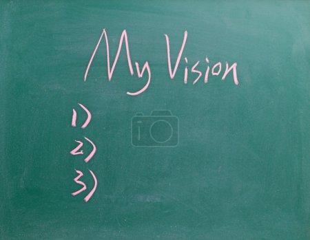 My Vision sign on blackboard