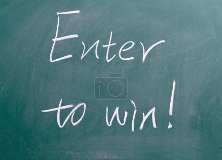Enter to win sign on blackboard