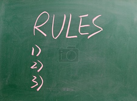 The Rules sign on blackboard