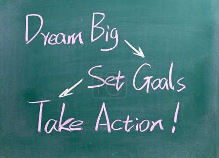 Dream Big, Set Goals and  Take Action words