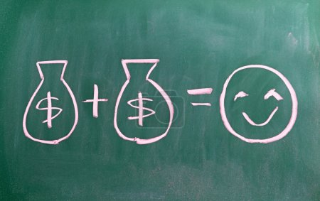 Photo pour Concept of money brings you happiness writen on chalkboard - image libre de droit