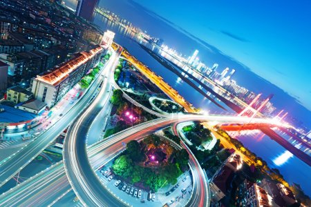 Photo for Shanghai interchange overpass and elevated road in nightfall - Royalty Free Image
