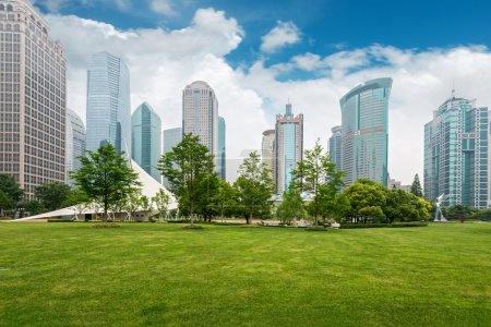 Photo for City park with modern building background in Shanghai - Royalty Free Image