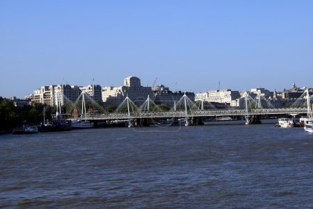 Hungerford Bridge over River Thames in London, England