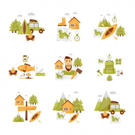 Hiking, camping icons set