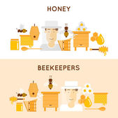 Honey and beekeeping Apiary beehives and frames honey jars flowers flying bees honeycomb and wax 2 banners Flat design vector illustration