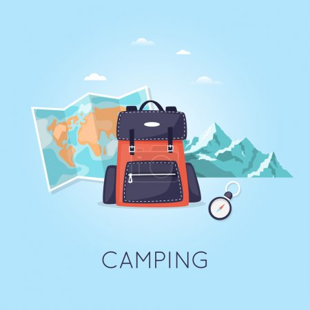 Illustration for Hiking and camping. Backpack on the background of mountains and map. Flat design vector illustration. - Royalty Free Image