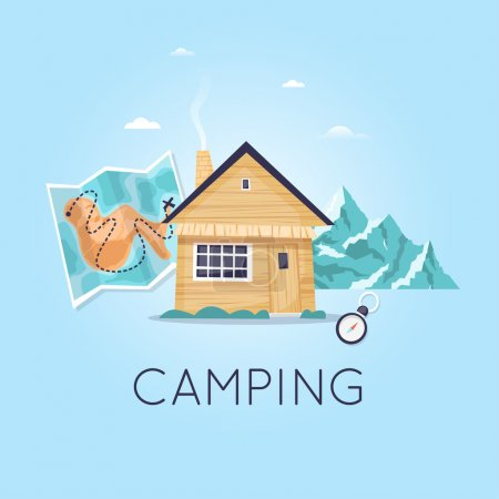 Illustration for Hiking and camping icon. Home on the background of mountains and maps. Flat design vector illustration. - Royalty Free Image