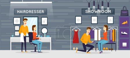 Hairdresser salon, Fashion clothing store