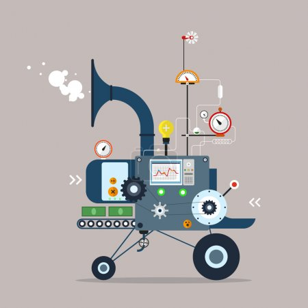 Illustration for Start up business machine. Business Startup. Flat Style Design. - Royalty Free Image