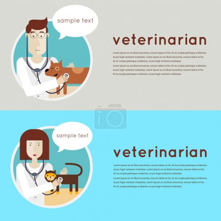 Veterinarian examining puppy and cat.