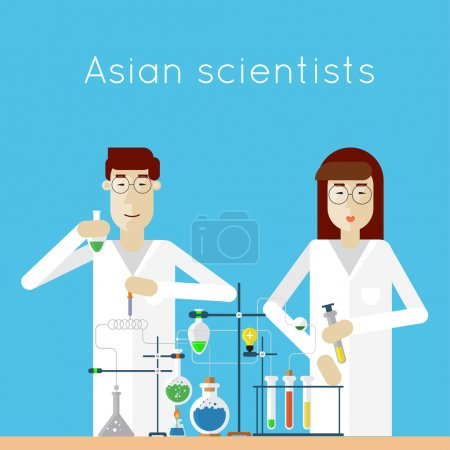 Scientists woman and man in laboratory