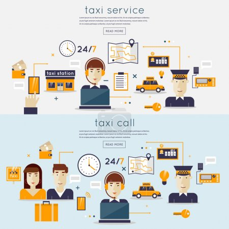 Taxi service concept with two passengers