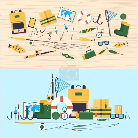 Illustration for Fishing tools lie on a wooden table. 2 banners. Vector flat illustration. - Royalty Free Image