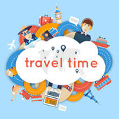 World Travel Planning summer vacations A man travels the world by train plane ship or bus Roads Summer holiday Tourism and vacation theme Flat design vector illustration Material design