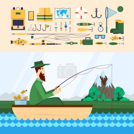 Illustration for Fisherman sitting in the boat and fishing. Fishing Icons. 2 banners. Flat design vector illustration. - Royalty Free Image