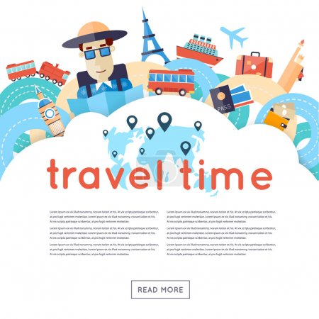 Illustration for World Travel. Planning summer vacations. A man travels the world by train, plane, ship or bus. Roads. Summer holiday. Tourism and vacation theme. Flat design vector illustration. - Royalty Free Image