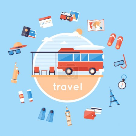 Illustration for Travel by bus. Bus and around icons. Camping. Camping van. Travel camping. Summer vacation, traveling, beach recreation, surfing, lifestyle. Flat design vector illustration. - Royalty Free Image