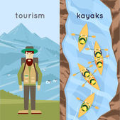 A man traveling in the mountains people paddle kayaks a top view Summer Flat design vector illustration