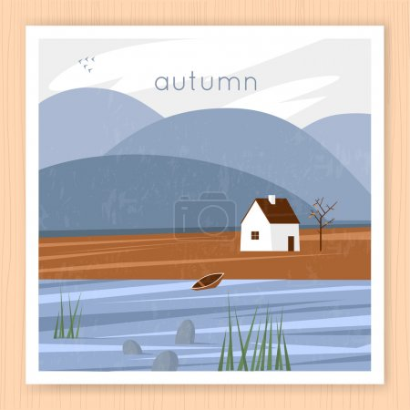 Autumn landscape with the house