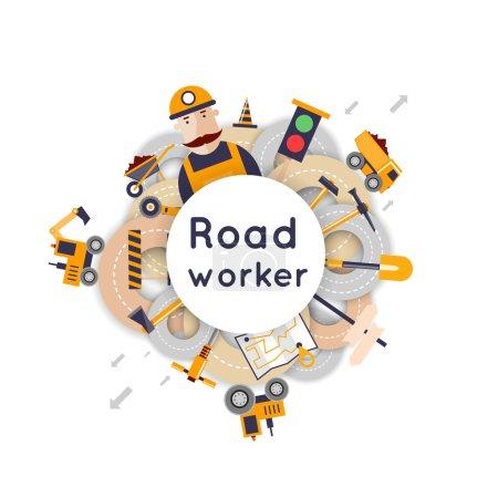 Road worker repair of roads
