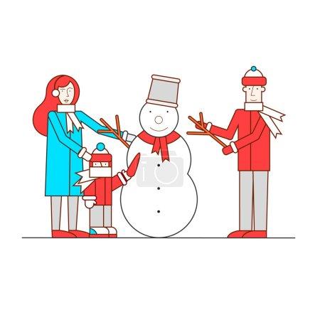 Illustration pour Joyeux Noël et bonne année sculpte lignes fines famille bonhomme de neige. Illustration vectorielle design plat . - image libre de droit