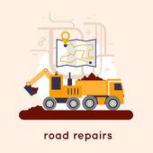 Repair of roads laying of asphalt Flat design vector illustrations
