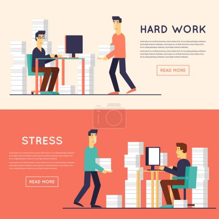 Illustration for Men working in the office at the computer. 2 banners. Flat design vector illustration. - Royalty Free Image