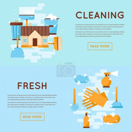 Cleaning tools, House cleaning banners