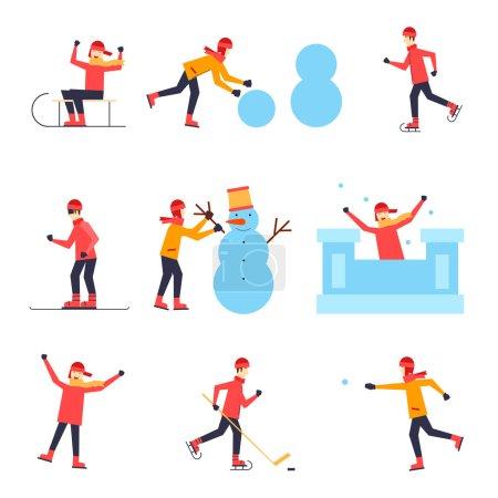 Illustration pour Luge pour enfants, patinage sur glace, snowboard, hockey, boule de neige, sculpter un bonhomme de neige, une forteresse, s'amuser Affiche, bannière, carte. Conception plate - image libre de droit