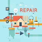 Home repair home construction Home improvement painting brush measuring laying masonry cut Flat design vector illustration