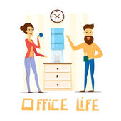Coffee break Man and woman drinking tea in an office Flat vector illustration