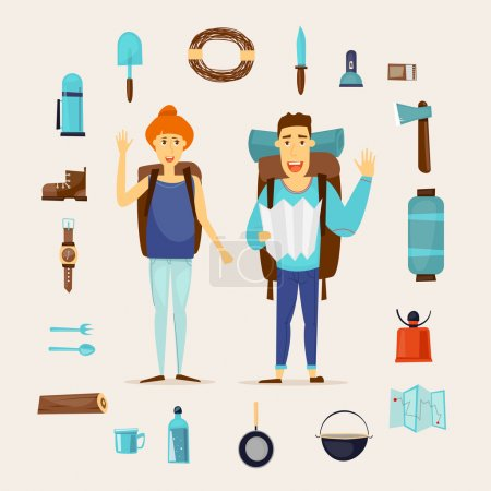 Couple with hiking equipment