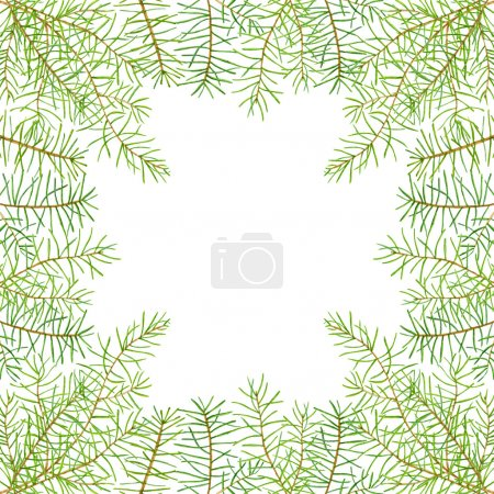 Green watercolor frame pine branches