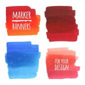 Vector textured design marker banners lines and stains
