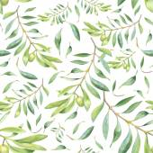 Green watercolor olive branch