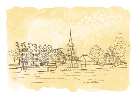 boceto de la ciudad sobre fondo de acuarela