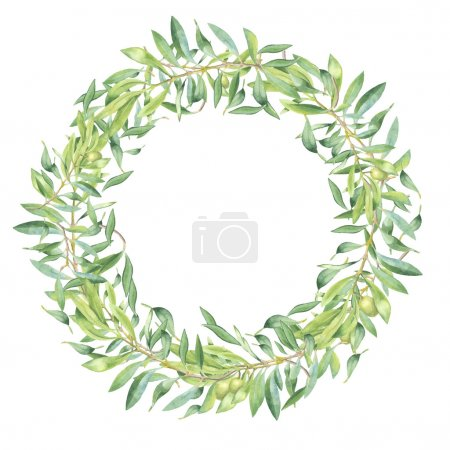 Illustration for Green watercolor olive branch frame on white background - Royalty Free Image