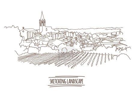 boceto de la ciudad sobre fondo blanco