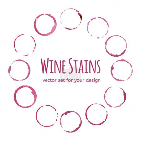 Illustration for Red wine round stains  background - Royalty Free Image