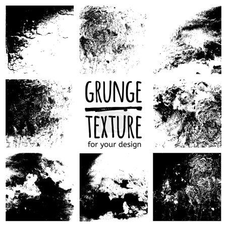 Illustration for Grunge black textures set on white background for design - Royalty Free Image